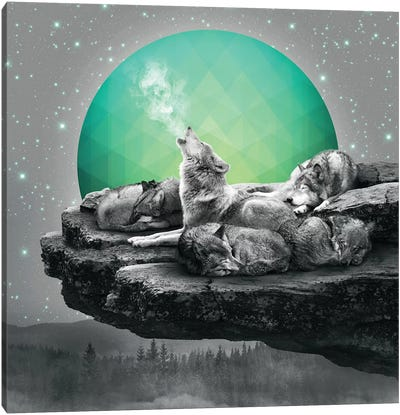Wolf Pack - Geo Moon Canvas Art Print