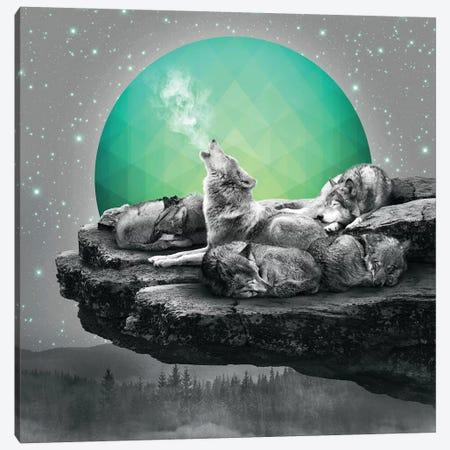 Wolf Pack - Geo Moon Canvas Print #SOA81} by Soaring Anchor Designs Canvas Wall Art