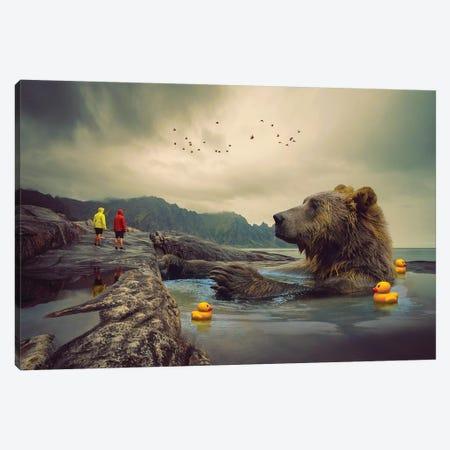 Foggy Bear Bath Canvas Print #SOA87} by Soaring Anchor Designs Canvas Art Print