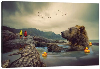 Foggy Bear Bath Canvas Art Print