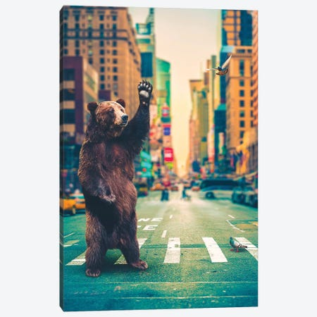 Neck Of Woods Bear NYC Color Canvas Print #SOA93} by Soaring Anchor Designs Art Print