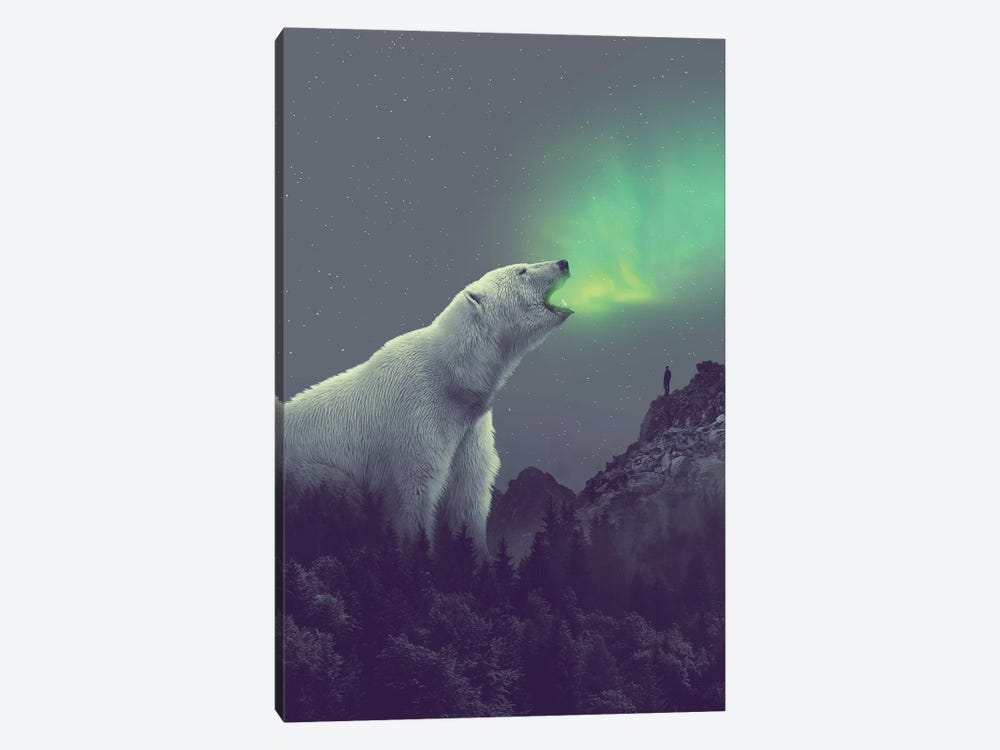 Polar Bear Forest Dipper by Soaring Anchor Designs 1-piece Canvas Print