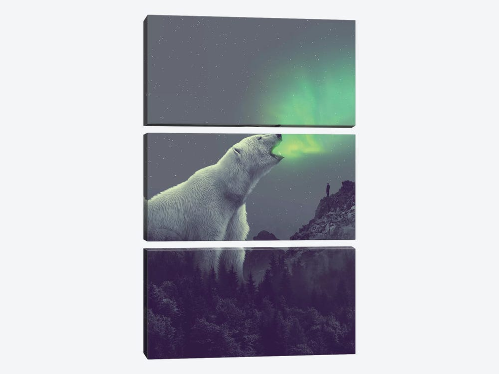 Polar Bear Forest Dipper by Soaring Anchor Designs 3-piece Art Print