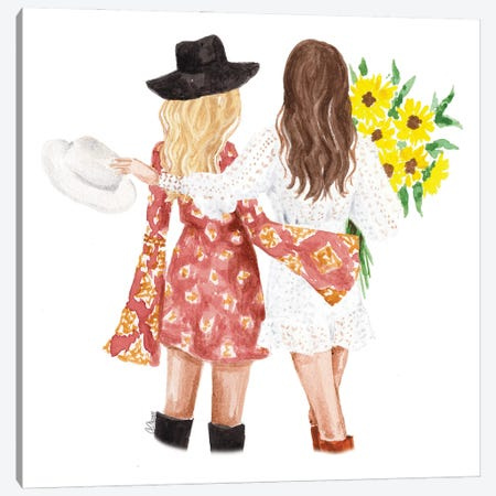 Best Friends With Sunflowers Canvas Print #SOB18} by Style of Brush Canvas Wall Art