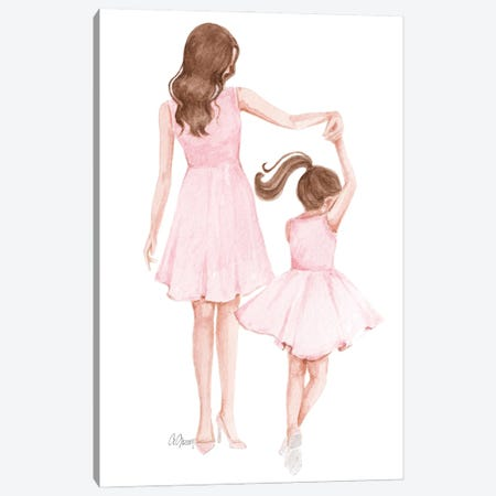 Mom And Daughter Dance Canvas Print #SOB27} by Style of Brush Canvas Artwork