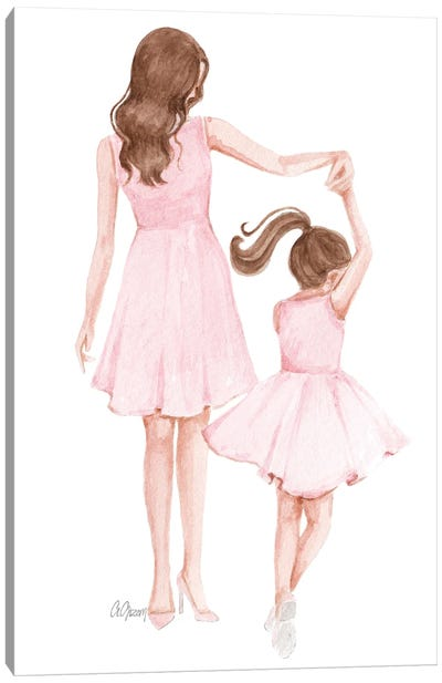 Mom And Daughter Dance Canvas Art Print