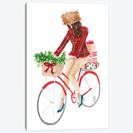 Holiday Bike Canvas Print #SOB30} by Style of Brush Canvas Artwork