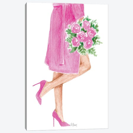 Pink Coat With Flower Canvas Print #SOB3} by Style of Brush Canvas Art Print