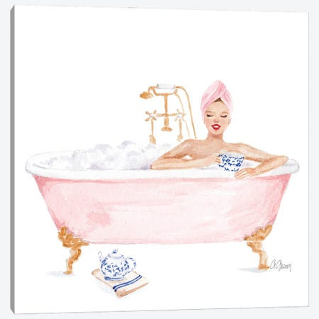 Pink Bathtub Canvas Print #SOB4} by Style of Brush Canvas Artwork