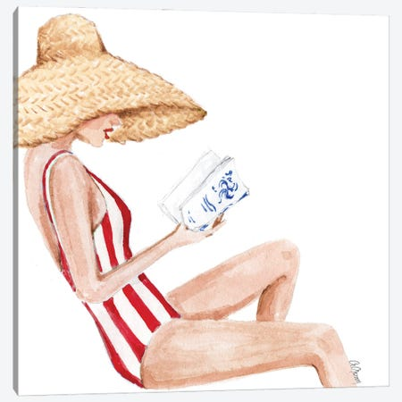 Book And Straw Hat Canvas Print #SOB69} by Style of Brush Art Print
