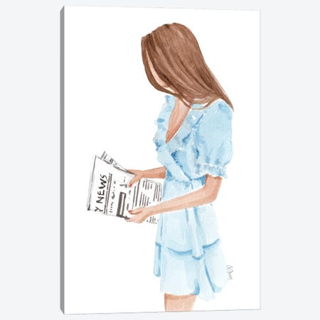 The Woman With Newspaper Canvas Print #SOB6} by Style of Brush Canvas Artwork