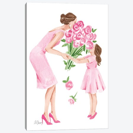 Mother And Daughter With Flowers Canvas Print #SOB8} by Style of Brush Art Print
