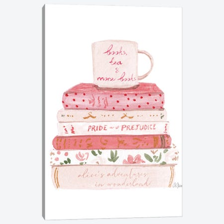Books And Tea Canvas Print #SOB9} by Style of Brush Canvas Print