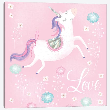 Love Unicorn Canvas Print #SOH1} by Sophie Hanton Art Print