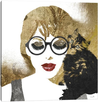 Girl And Cat Canvas Art Print