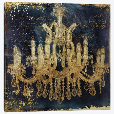 Navy Gold Chandelier Canvas Print #SOI292} by Sophie 6 Canvas Art