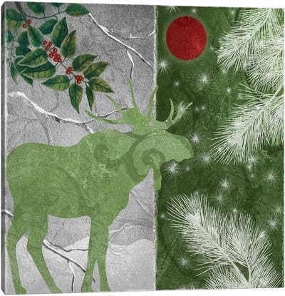 Red Forest Moon Moose Canvas Art Print