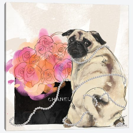 Chanel Pug Canvas Print #SOJ115} by Studio One Canvas Wall Art