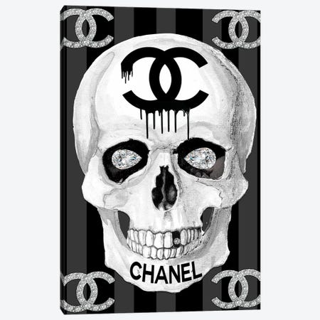 Chanel Skull Canvas Print #SOJ5} by Studio One by Jodi Canvas Artwork