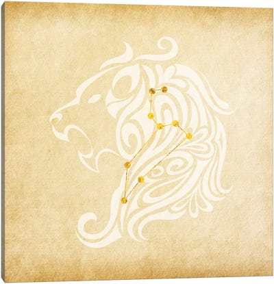 Influential Lion with Constellation Canvas Art Print