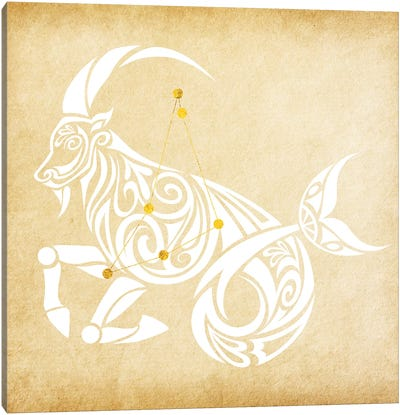 Trustworthy Sea-Goat with Constellation Canvas Art Print