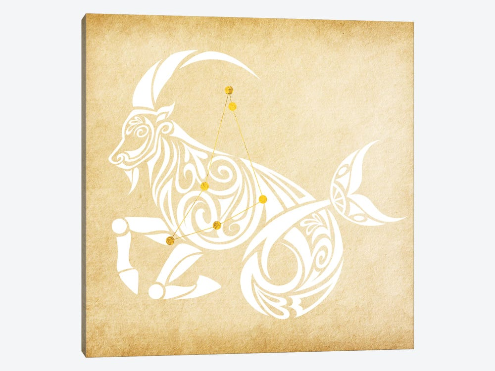 Trustworthy Sea-Goat with Constellation by 5by5collective 1-piece Canvas Art Print