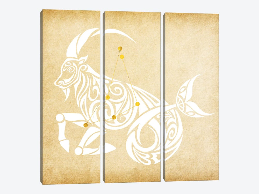 Trustworthy Sea-Goat with Constellation by 5by5collective 3-piece Canvas Print