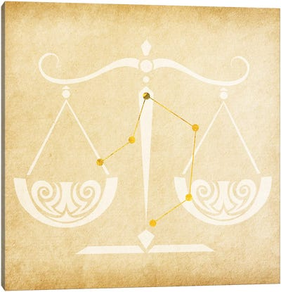Balanced Scale with Constellation Canvas Art Print