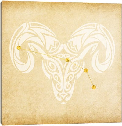 Courageous Ram with Constellation Canvas Art Print