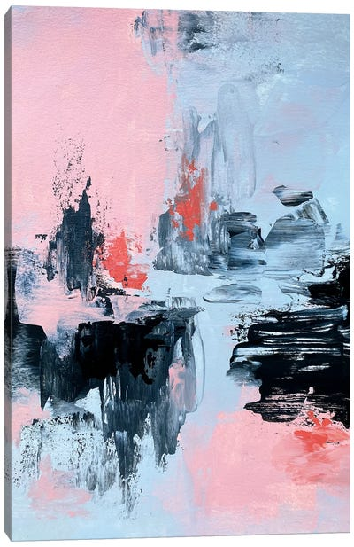 Pink And Grey Abstract II Canvas Art Print
