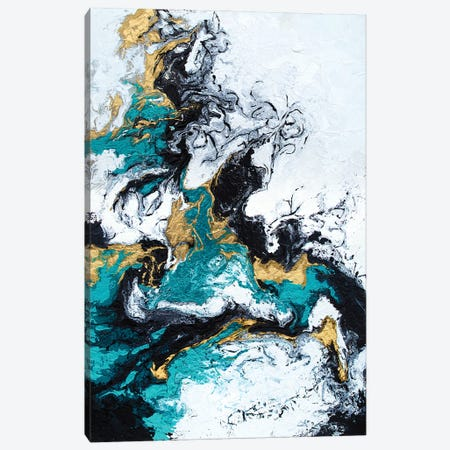 Green And Gold Smoke Canvas Print #SPB68} by Spellbound Fine Art Canvas Art