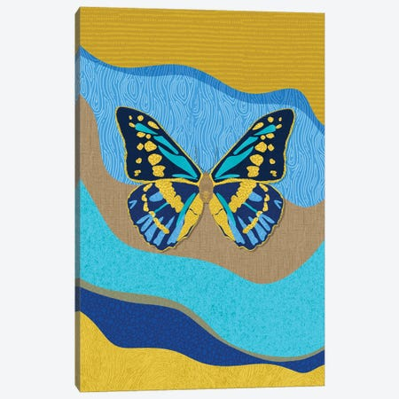 Blue Butterfly Canvas Print #SPC43} by Sagmoon Paper Co. Art Print