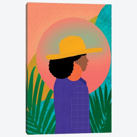 Black Woman In Denim Canvas Print #SPC57} by Sagmoon Paper Co. Canvas Print