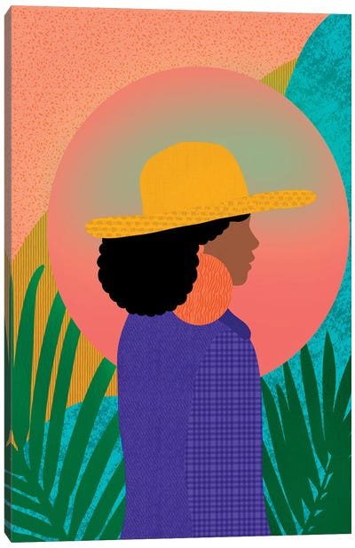 Black Woman In Denim Canvas Art Print