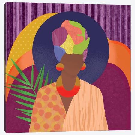 Black Woman In Headwrap Canvas Print #SPC64} by Sagmoon Paper Co. Canvas Art