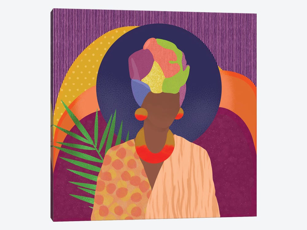 Black Woman In Headwrap by Sagmoon Paper Co. 1-piece Canvas Artwork