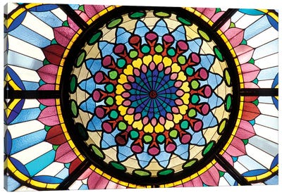Stained Glass Atrium Window, Museum Of Applied Arts, Budapest, Hungary Canvas Print #SPI1