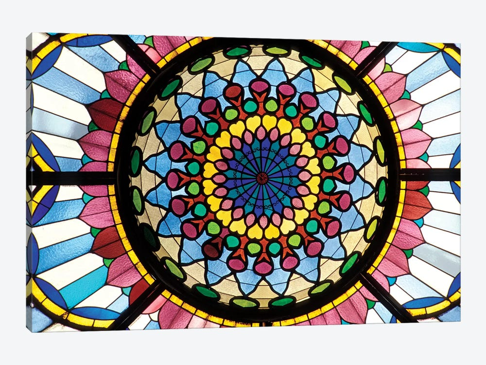 Stained Glass Atrium Window, Museum Of Applied Arts, Budapest, Hungary by Sergio Pitamitz 1-piece Canvas Artwork