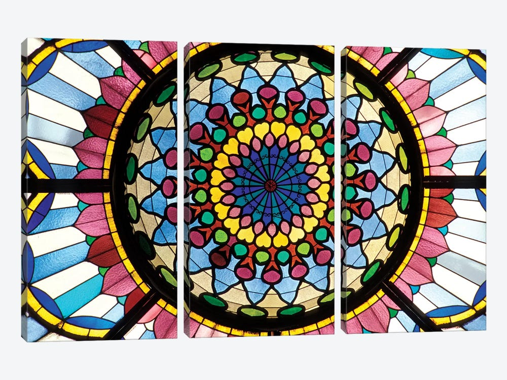 Stained Glass Atrium Window, Museum Of Applied Arts, Budapest, Hungary by Sergio Pitamitz 3-piece Canvas Artwork