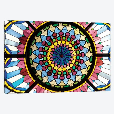Stained Glass Atrium Window, Museum Of Applied Arts, Budapest, Hungary 3-Piece Canvas #SPI1} by Sergio Pitamitz Art Print