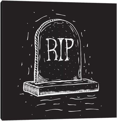 Spooky Cut Headstone Canvas Art Print