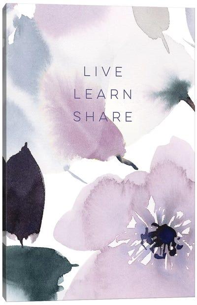 Live Learn Share Canvas Art Print