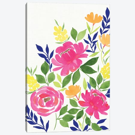 Pink Floral Bouquet 3-Piece Canvas #SPN163} by Stephanie Ryan Canvas Art