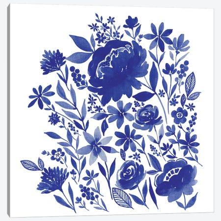 Blue Indigo Bouquet 3-Piece Canvas #SPN34} by Stephanie Ryan Canvas Wall Art