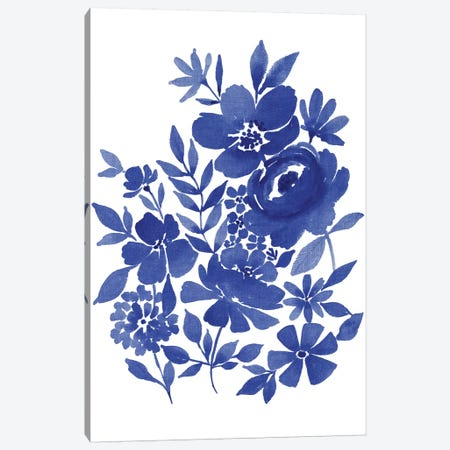 Blue Indigo Bouquet II 3-Piece Canvas #SPN35} by Stephanie Ryan Canvas Wall Art