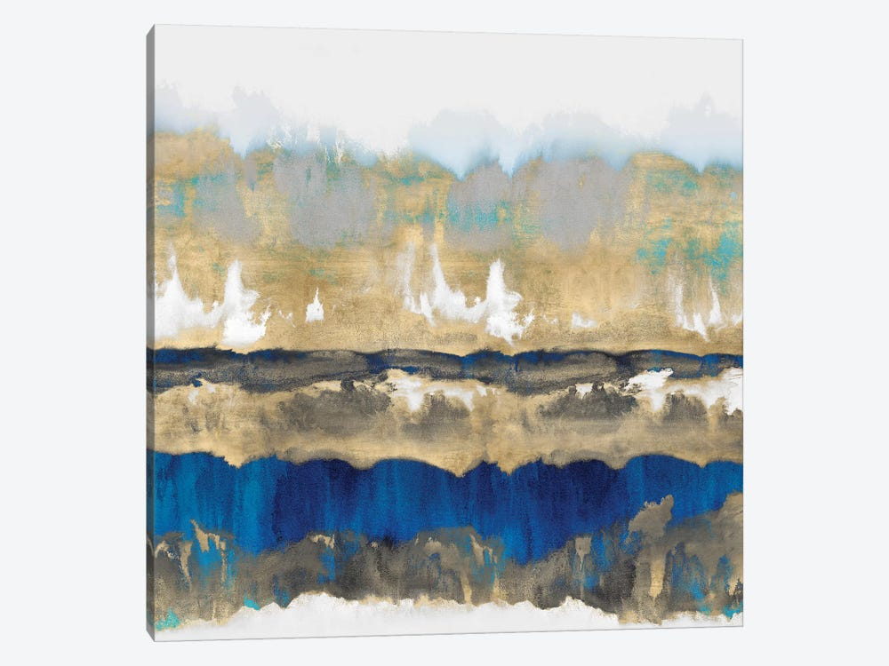 Gradations In Blue & Gold 1-piece Canvas Art Print
