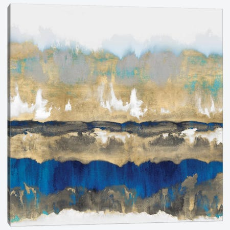 Gradations In Blue & Gold 3-Piece Canvas #SPR14} by Rachel Springer Canvas Artwork