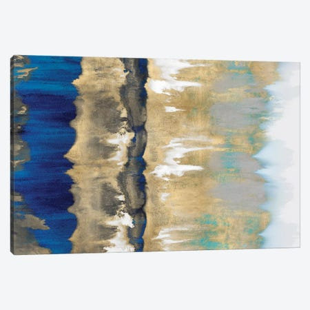 Resonate In Gold & Blue Canvas Print #SPR27} by Rachel Springer Canvas Art Print