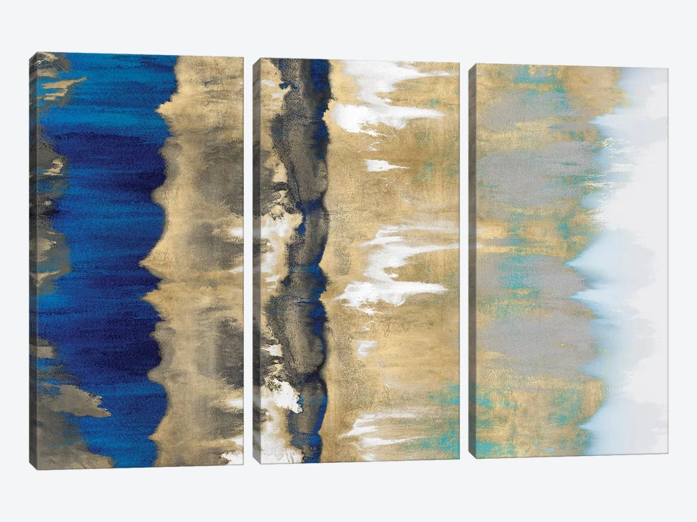 Resonate In Gold & Blue by Rachel Springer 3-piece Canvas Art Print