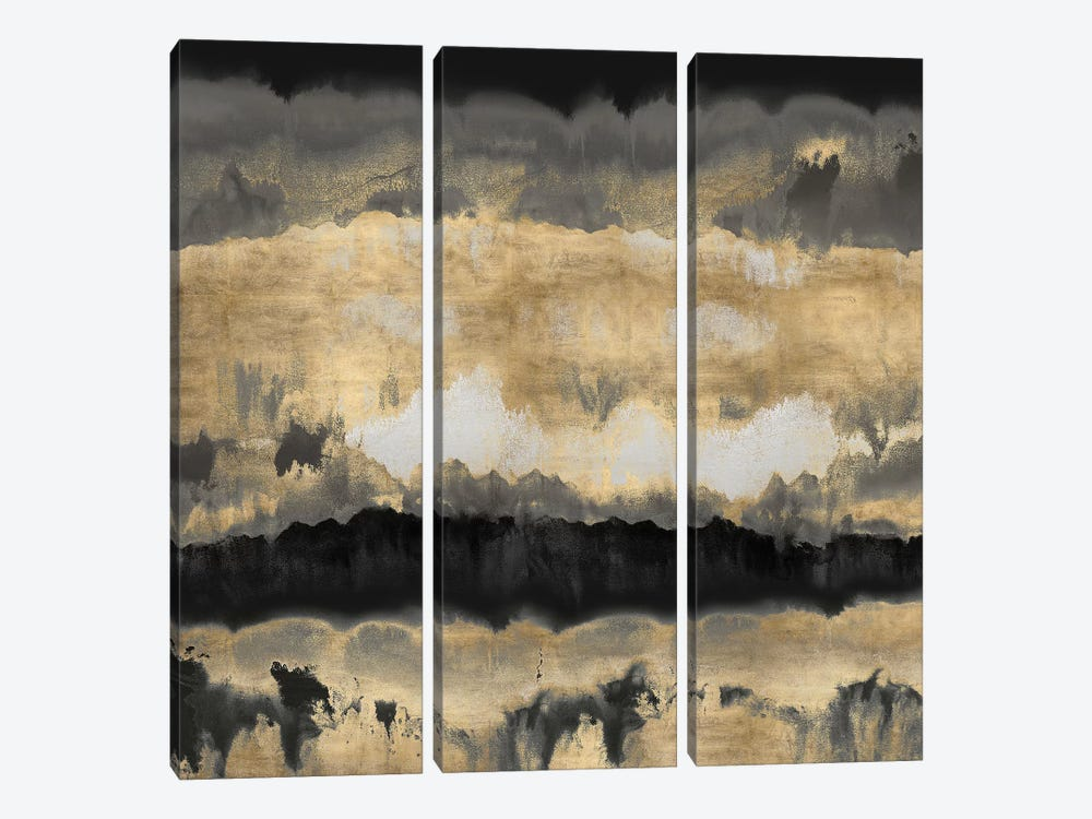 Spectrum In Gold & Black 3-piece Canvas Art